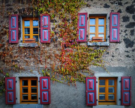 Aold house with colourful shutters and and autum leafs growin on the wall