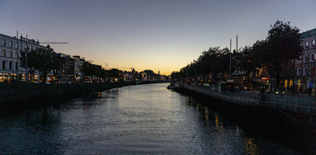 Twilight looking over a Dublin Canal Stock Photo