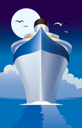 romantic getaway: Cruise ship, cruise liner illustration