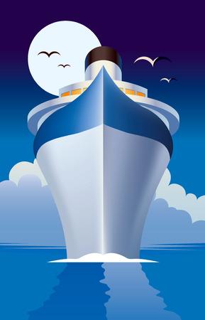 Nave da crociera, crociere marittime illustrazione Vettoriali