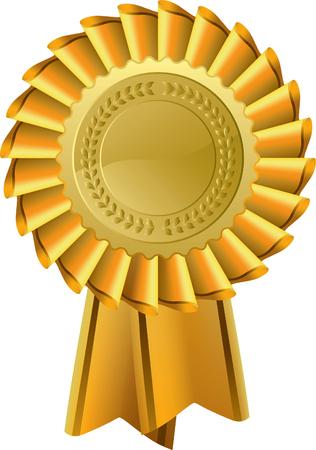 Gold award seal rosette, editable vector illustration Vector