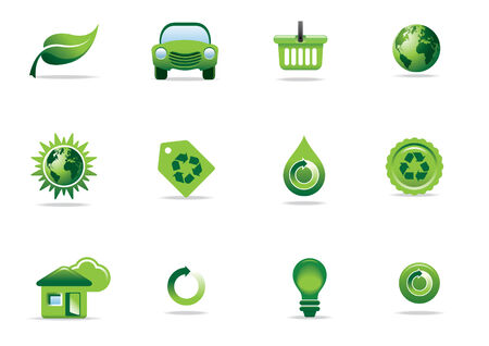 Environmental green icons and symbols Illustration