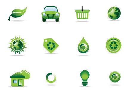 Environmental green icons and symbols Stock Vector - 6726823