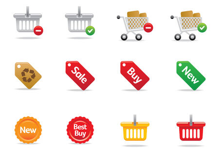 Web shopping icons and buttons Illustration
