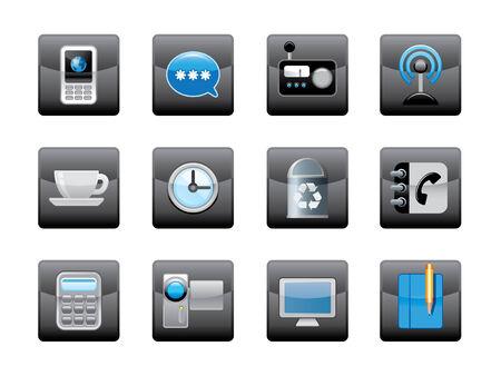 clock radio: Botones e iconos de Web