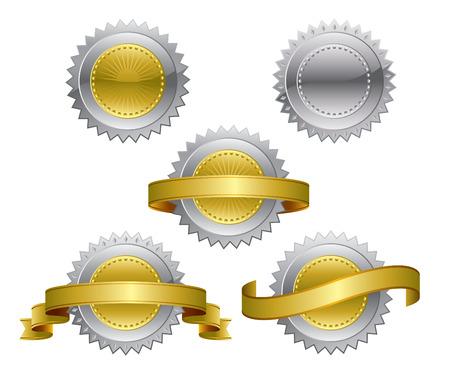 rosettes: Premio de plata de la oro medallas - rosetones  Vectores