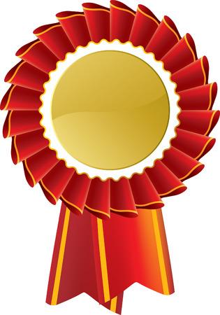 rosette: Red Rosette premio medalla Vectores