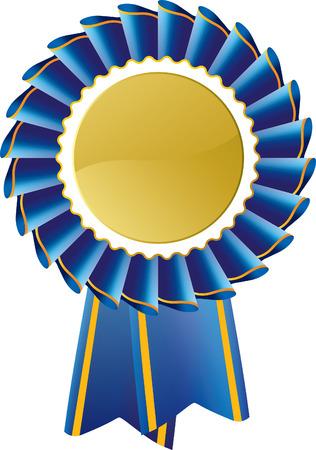 Blue Rosette Award Medal Vector