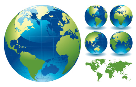 atlantic: World Globe Maps - editable vector illustration