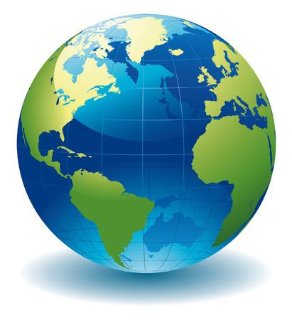 wereldbol groen: Wereld bol kaart  Stock Illustratie