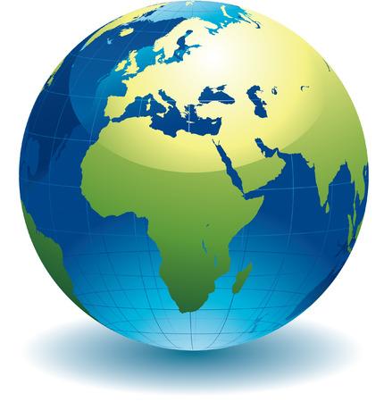 continente: Mapa de globo del mundo - ilustración vectorial editable