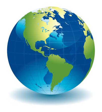 north america map: Mondo globo mappa  Vettoriali