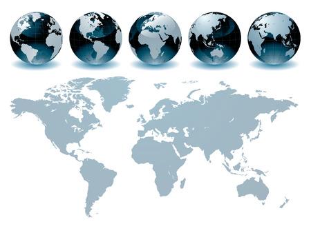 World Globe Maps  Vector