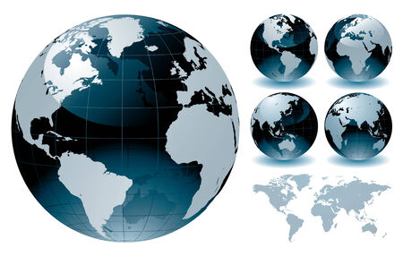 World Globe Maps  Stock Vector - 7577172