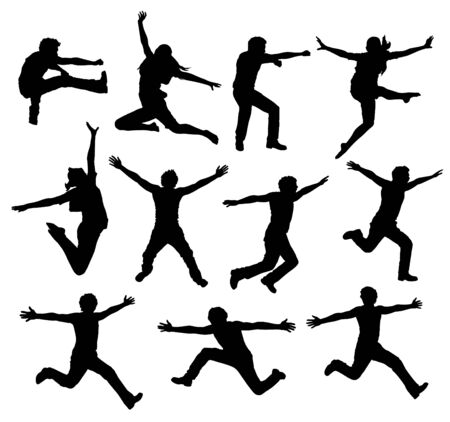 woman jump: Active People silhouette -