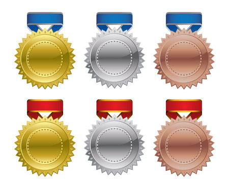 silver ribbon: Gold Silver Bronze Award Medals