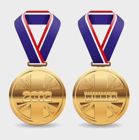 Gold medals with area to place your own text