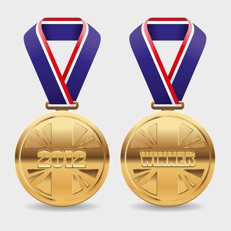 goldmedaille: Goldmedaillen mit Fläche um Ihren eigenen Text platzieren Illustration
