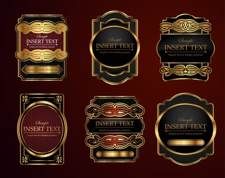 food and wine: Decorative ornate labels with area to place your own text Illustration