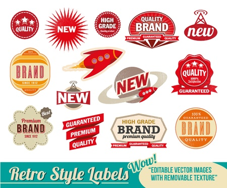 Vintage retro labels and tags. Editable images with removable texture.