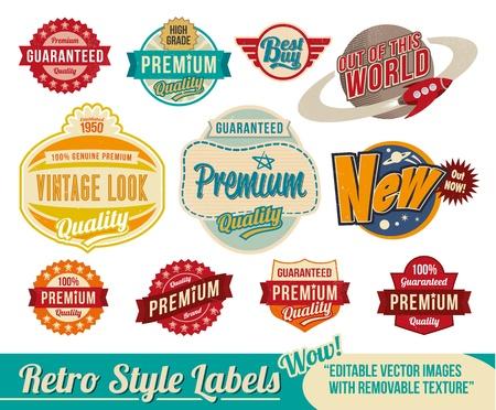Vintage, retro, etiquetas y etiquetas: imágenes editables con textura extraíble