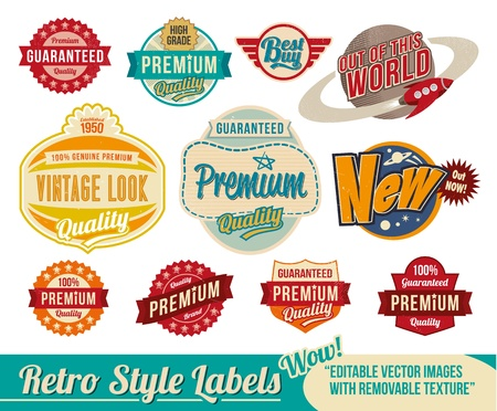 fifties: Vintage retro labels and tags - editable images with removable texture Illustration