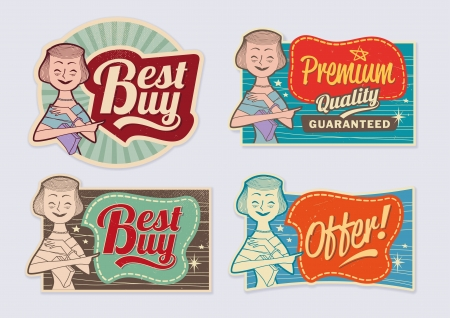 Retro vintage advertising labels - editable images with removable grunge texture Çizim