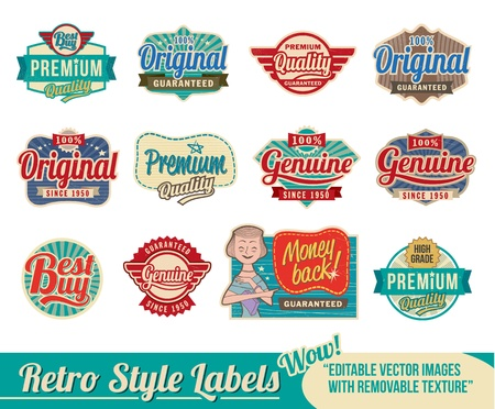 Vintage retro labels and tags - editable images with removable texture Çizim