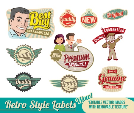 50s: Vintage Retro Labels - editable images