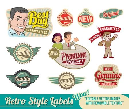 Vintage Retro Labels - editable images