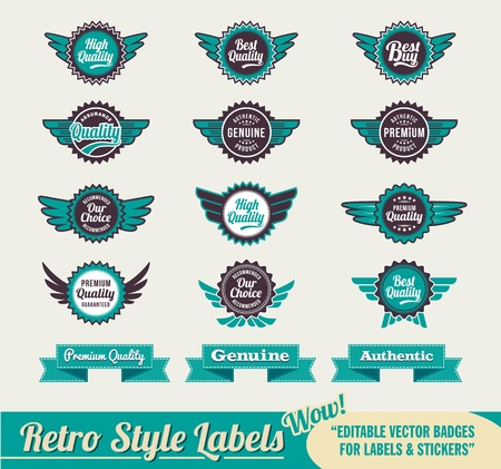 Retro Vintage Premium quality labels and stickers Stock Vector - 14474563