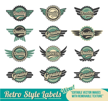 Collection of Quality and Guarantee retro vintage label designs Vector