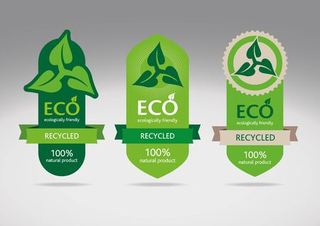 recycled paper: Eco recycle labels - editable images