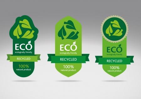 papel reciclado: Eco de reciclaje etiquetas - im�genes editables Vectores