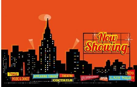 Vintage Retro Stad Nightlife - bewerkbare achtergrond Vector Illustratie