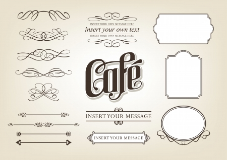 Calligraphy Cafe decorative scroll Set Vector