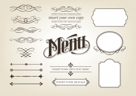 Calligraphy Menu Set Vector