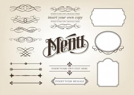 Menu Set calligraphie