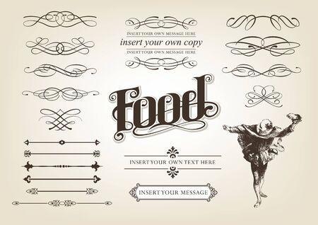 Calligraphy Food Set Vector