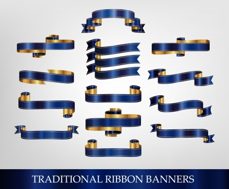 Blue Ribbon Banner Collection - illustrations Vector