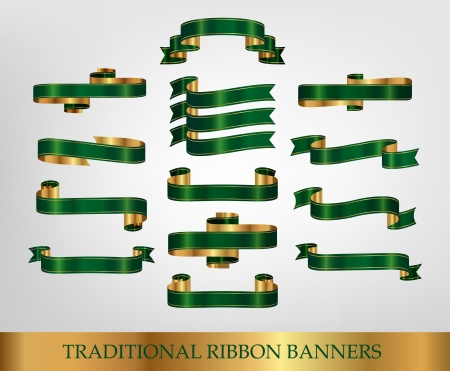 Collection of Green Ribbons and banners Vector
