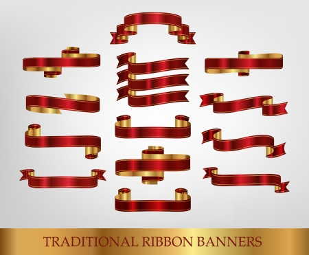 Red Ribbon Banners - illustrations Vector