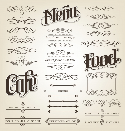 Decorative Calligraphy Set - editable illustrations