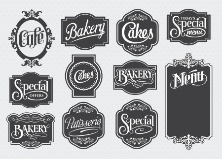 pastry shop: calligraphic sign and label design set