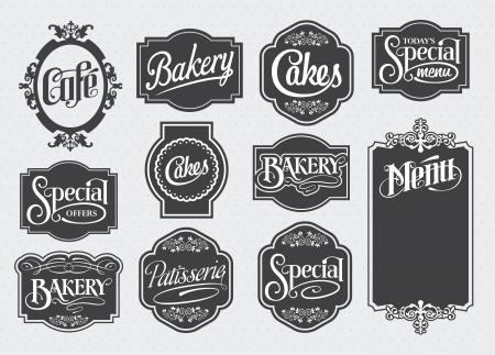 kalligrafische teken en label design set