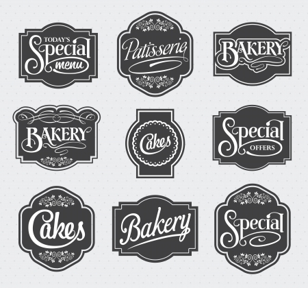 bakery shop: calligraphic sign and label design set