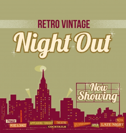 city skyline night: City nightlife - vintage retro illustration Illustration