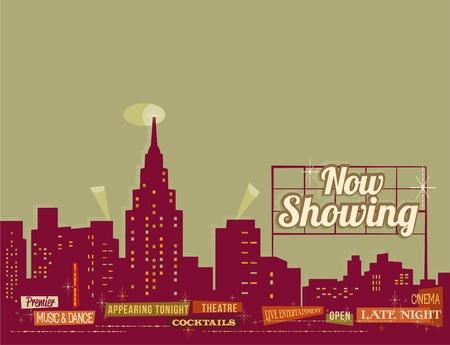 broadway: City nightlife - vintage retro illustration Illustration