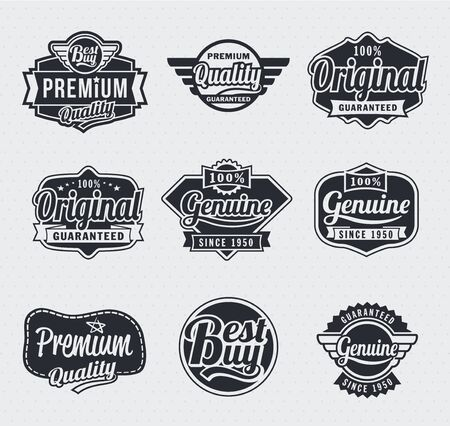 Collection of Retro Vintage style vector labels Çizim