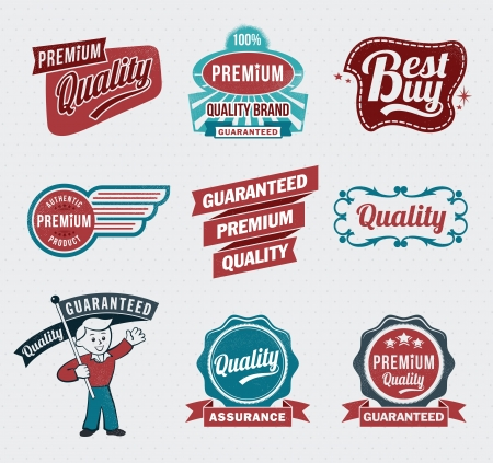 Illustration - Vintage Styled Premium Quality labels Stock Vector - 17659119